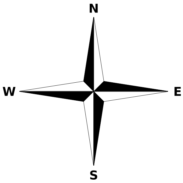 File:Simple compass rose.svg - Compass Rose PNG Black And White