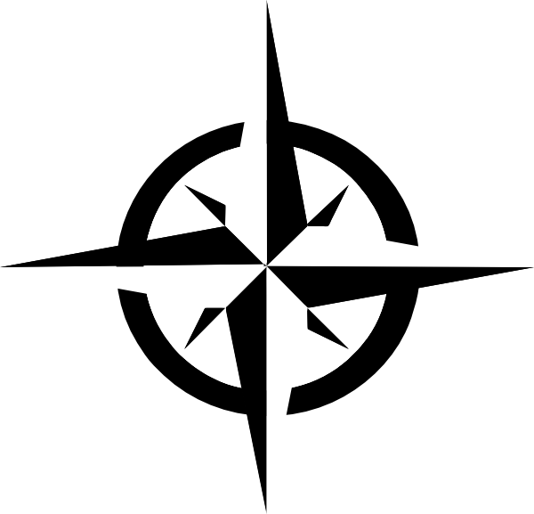 White Compass Rose clip art - vector clip art online, royalty free . - Compass Rose PNG Black And White