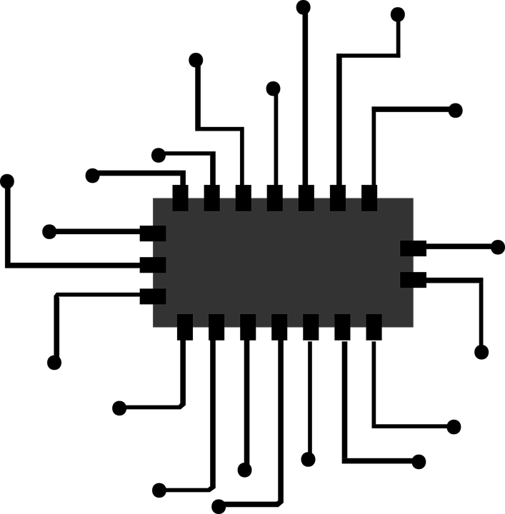 Chip, Icon, Micro, Processor, Computer, Cpu, Symbol - Computer Cpu PNG Black And White