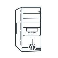 Computer Cpu PNG Black And White - 64604
