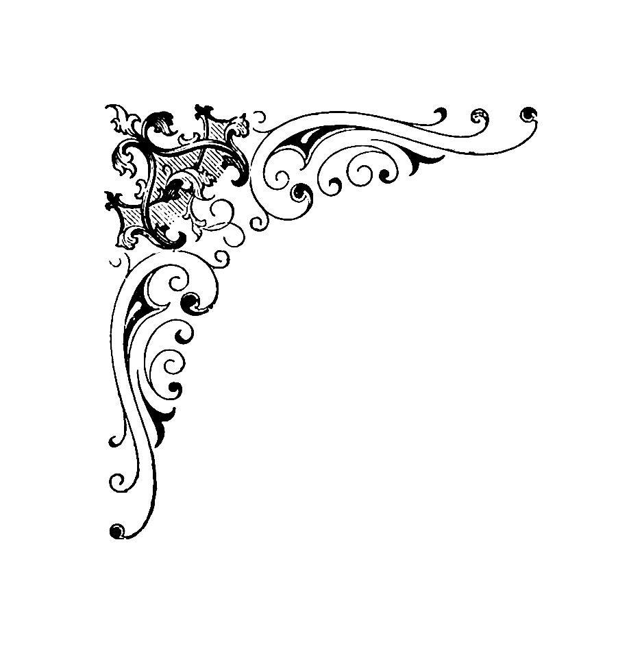 Digital Stamp Design: Free Corner Digital Stamp: Antique Corner Design  Illustration - Corner Design PNG