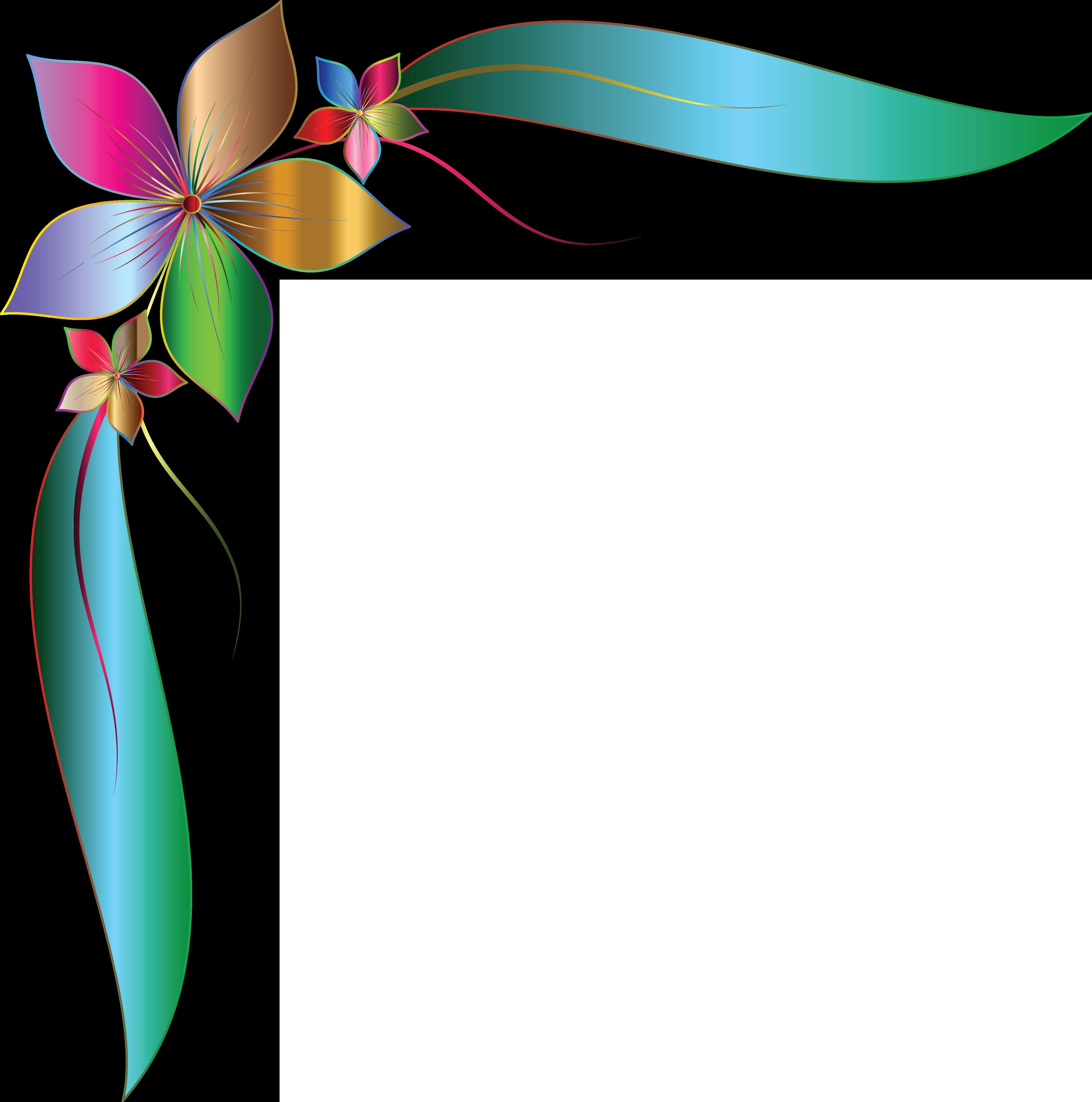 Free Clipart Of A Gradient Floral Corner Design element #0001910 . - Corner Design PNG