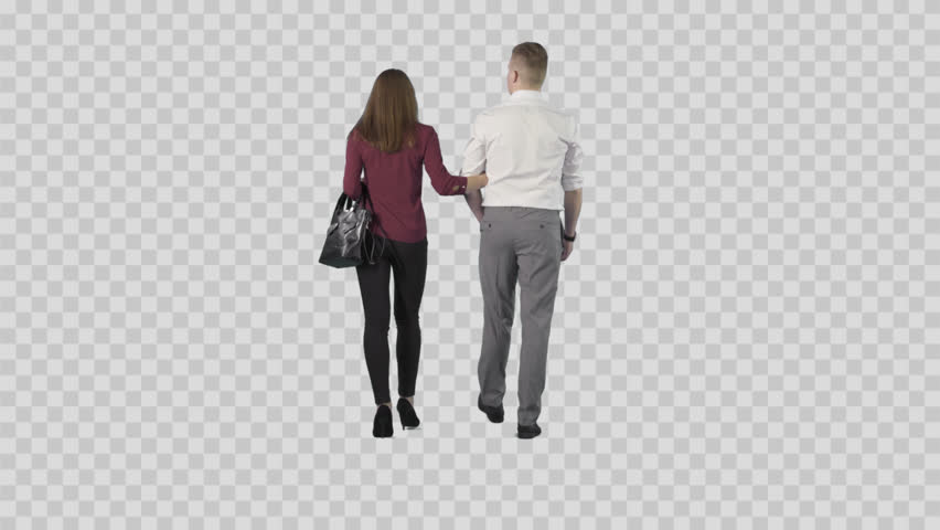 Young Couple (male And Girl) Are Slowly Strolling From The Camera. Camera  Is Static. Lens 85 Mm. Footage With Alpha Channel. - Couple PNG HD