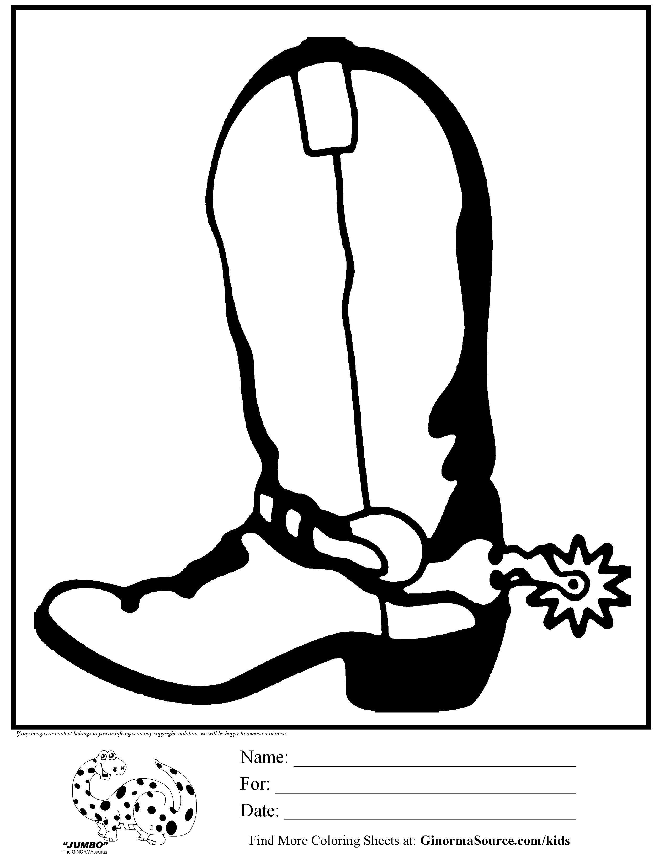 coloring page cowboy boots spurs - GINORMAsource Kids - Cowboy Boots With Spurs PNG