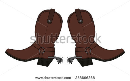 Wild west leather cowboy boot with spurs and stars. Vector clip art  illustration isolated on - Cowboy Boots With Spurs PNG
