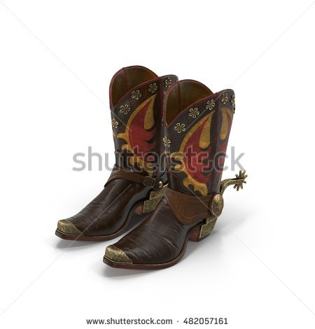 Wild west leather cowboy boots with spurs isolated on white 3d Illustration - Cowboy Boots With Spurs PNG