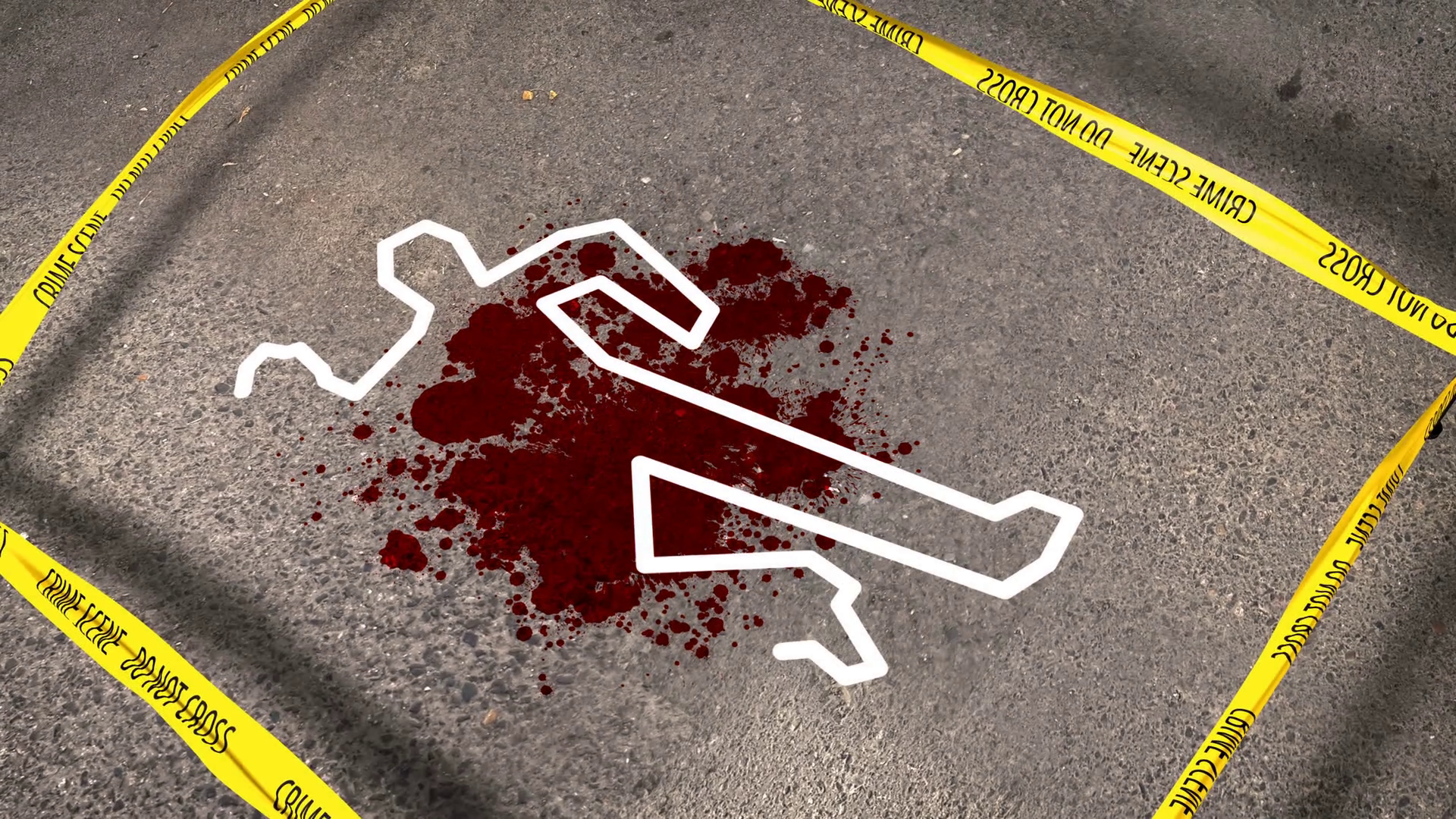 Do Not Cross tape around a crime scene with a blood spot and a human body  contour. Motion Background - VideoBlocks - Crime Scene PNG HD
