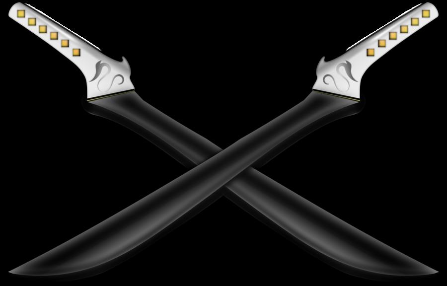 Crossed Fantasy Swords Black by mt3djim PlusPng.com  - Crossed Swords PNG HD