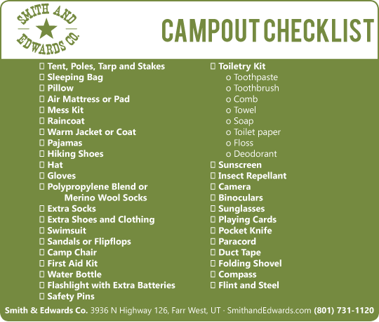 Camping Checklist - Cub Scout Camping PNG