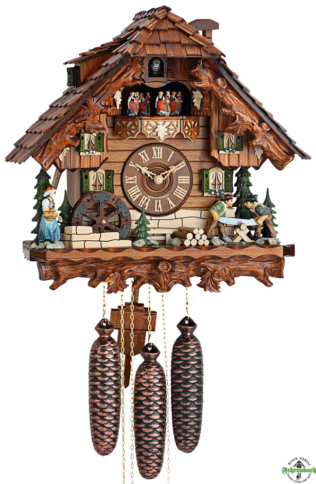 Chalet Cuckoo Clock with Moving Woodcutters u0026 Water Wheel - HEKAS - Cuckoo Clock PNG
