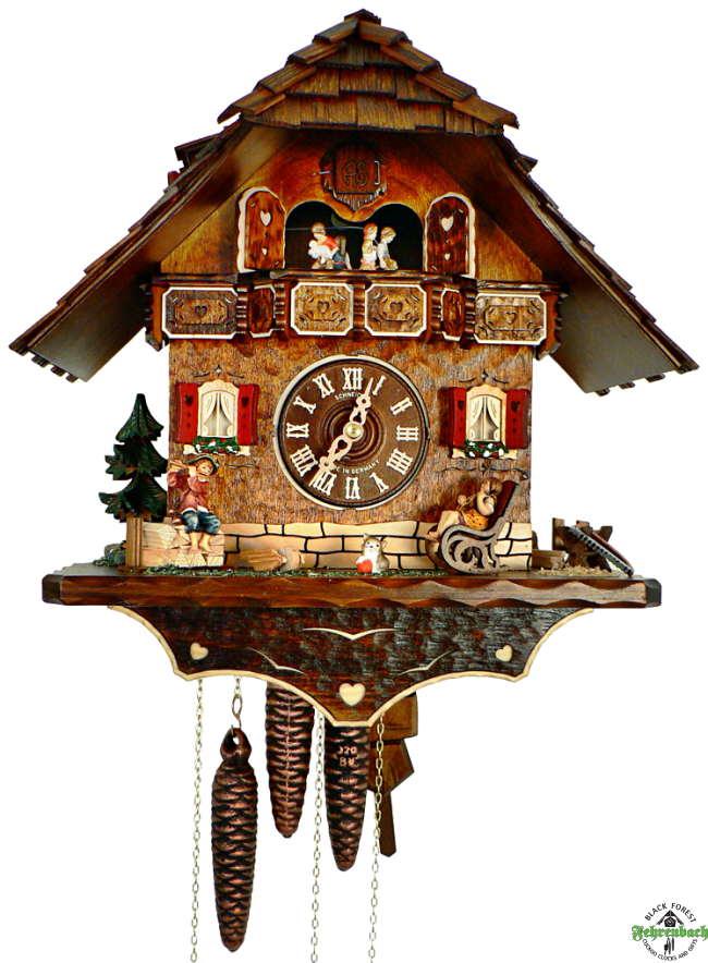 Cuckoo Clock - 8-Day Chalet with Children Playing Music - Schneider - Cuckoo Clock PNG