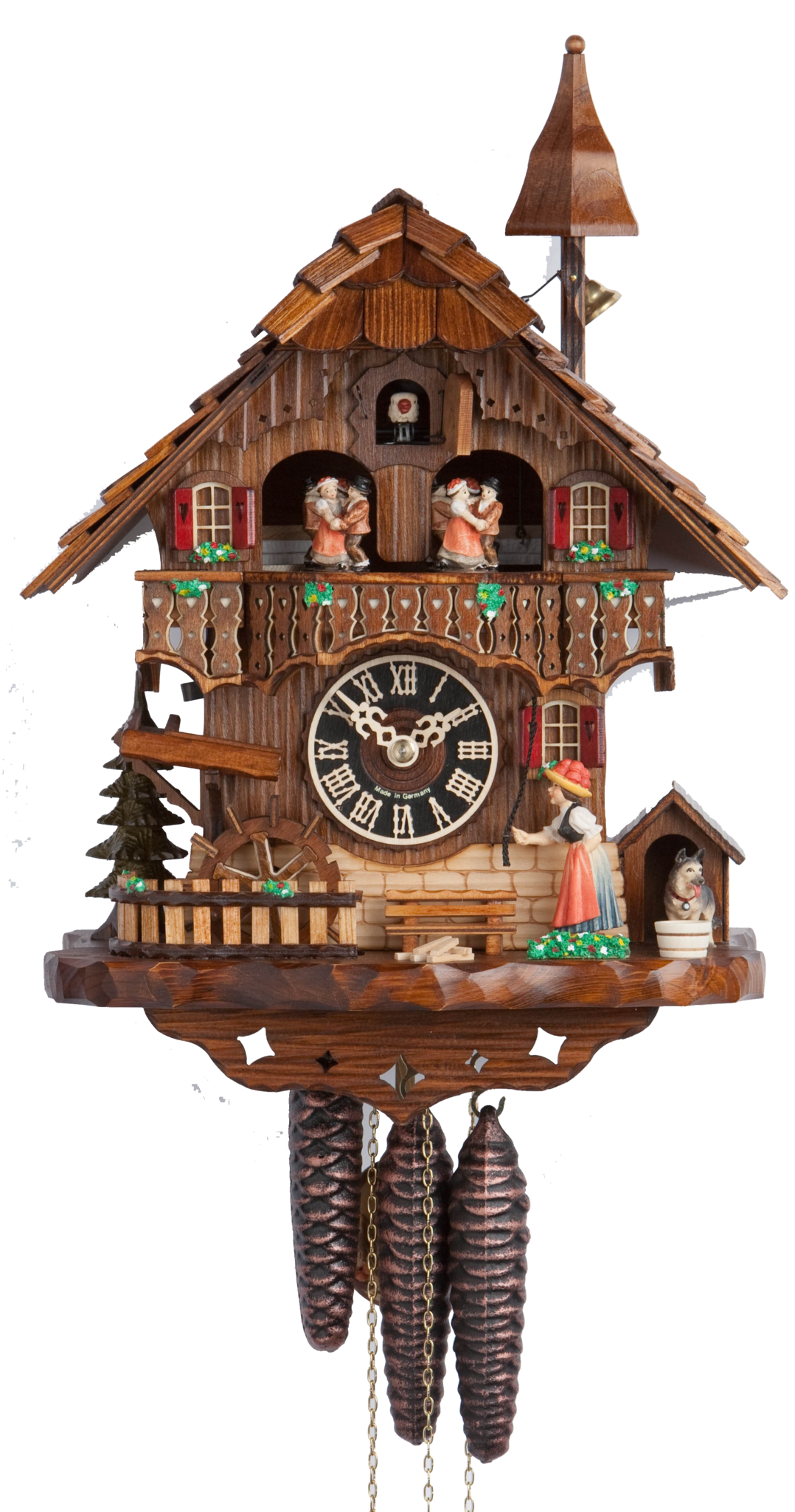 Cuckoo Clock Black Forest House Moving Wheel 1-Day Movement Music - Cuckoo Clock PNG
