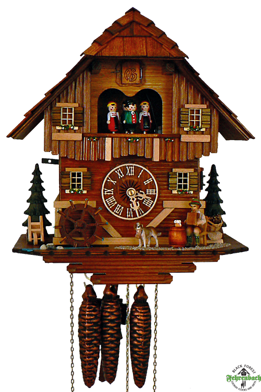 Cuckoo Clock - Quartz Chalet with Accordion Player - Schneider - Cuckoo Clock PNG