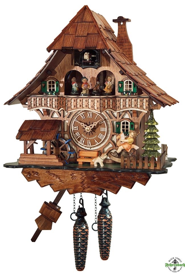 Cuckoo Clock - Quartz Chalet with Girl on Rocking Horse - Engstler - Cuckoo Clock PNG