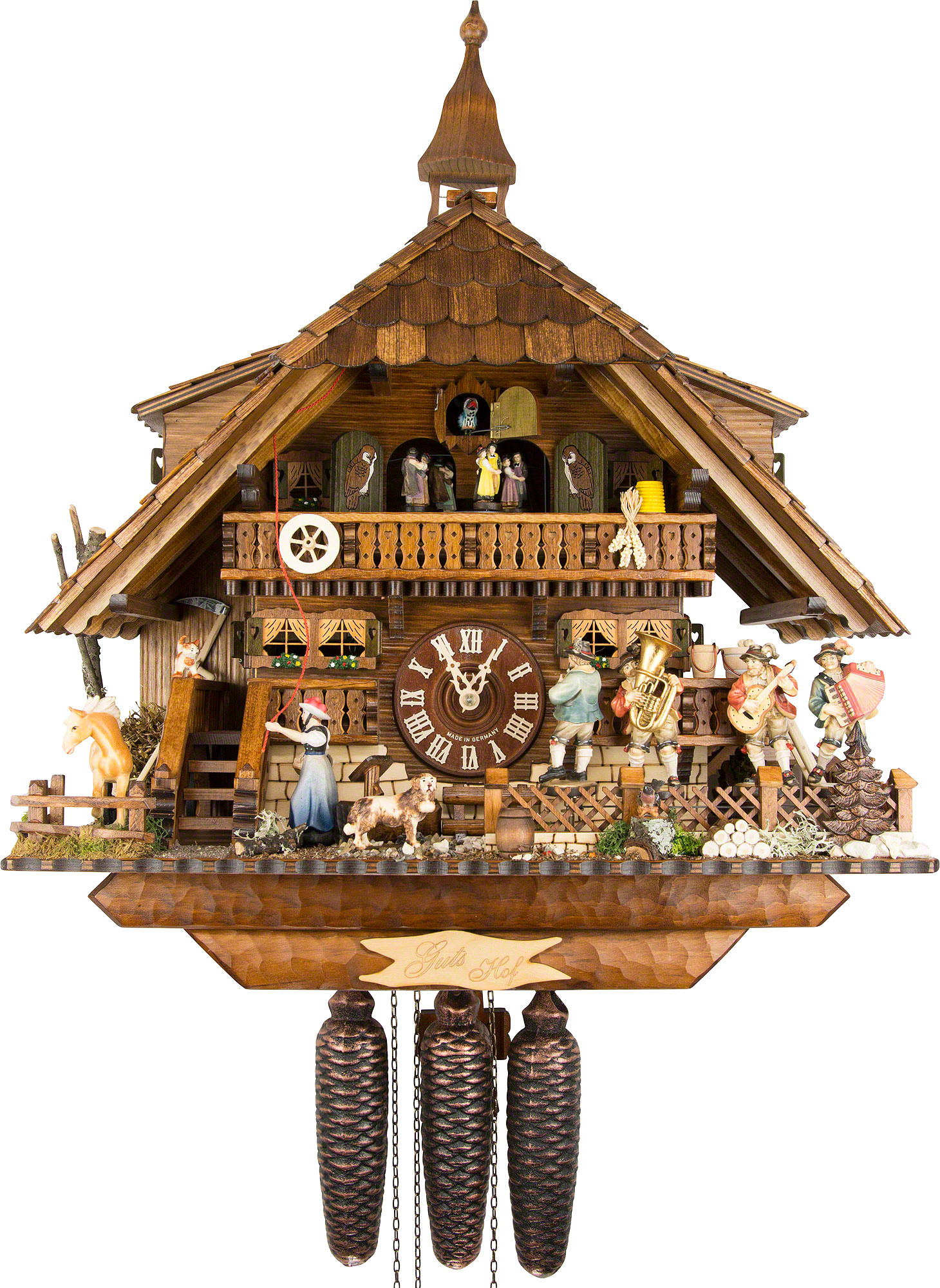 Chalet Cuckoo Clocks Cuckoo Clock 8-day-movement Chalet-Style 47cm by August - Cuckoo Clock PNG HD