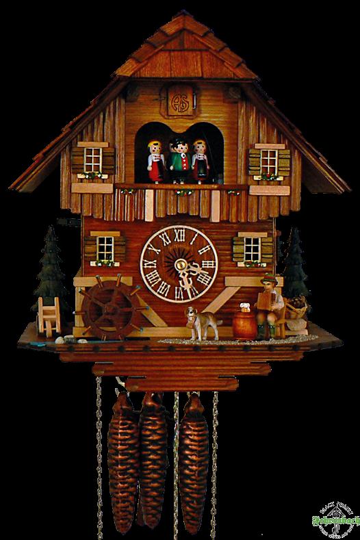 Cuckoo Clock - Quartz Chalet with Accordion Player - Schneider - Cuckoo Clock PNG HD