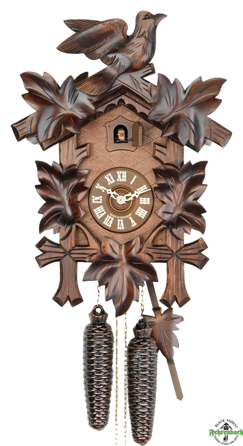 Traditional Nature Cuckoo Clock with Bird u0026 Leaves - HEKAS - Cuckoo Clock PNG
