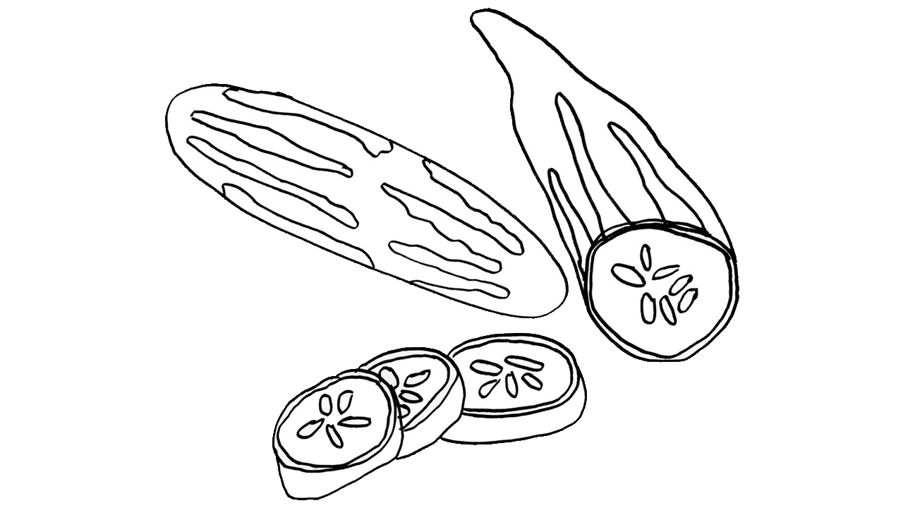 Black u0026 White clipart cucumber #4 - Cucumber Slice PNG Black And White