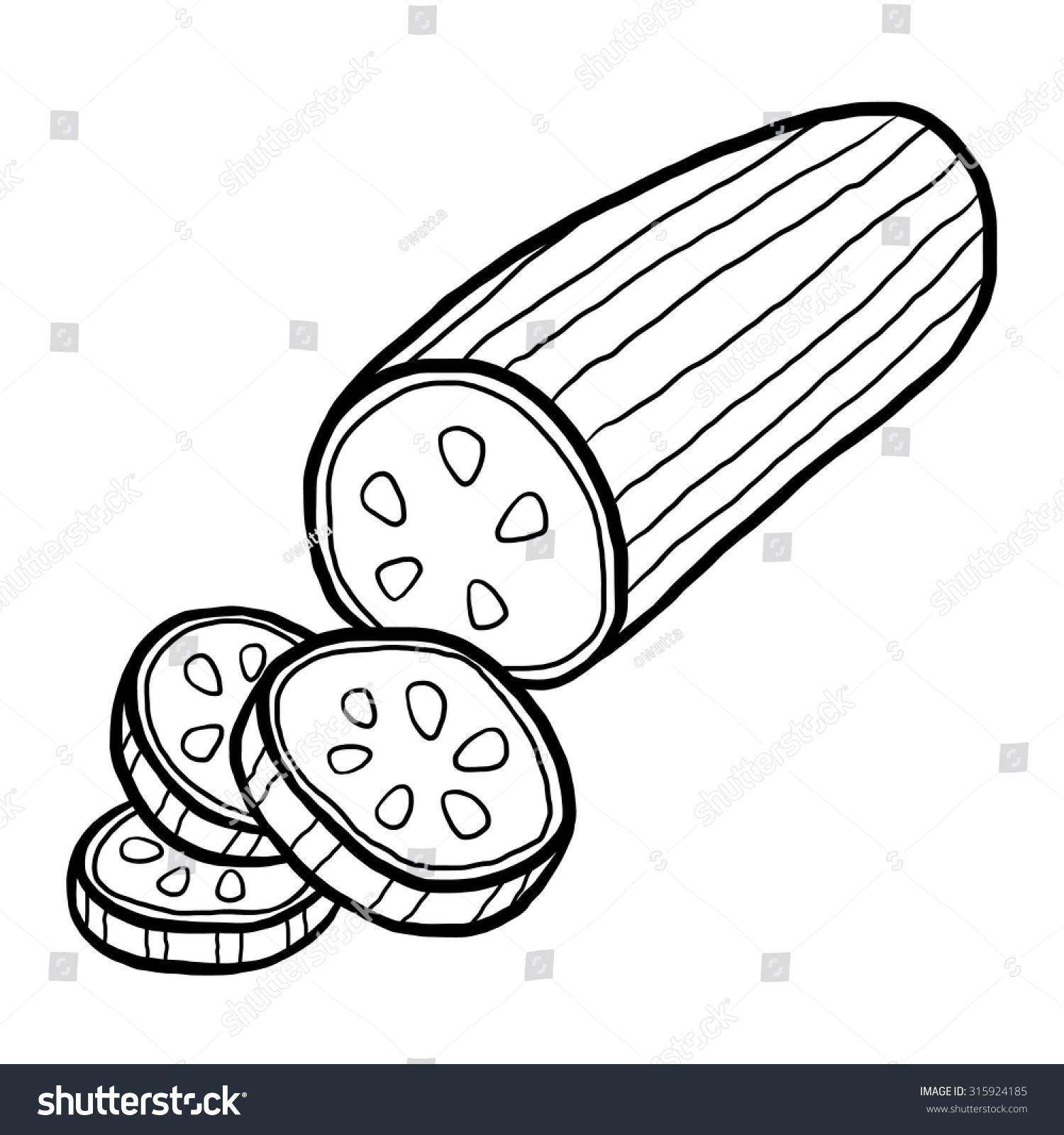 cucumber / cartoon vector and illustration, black and white, hand drawn,  sketch style - Cucumber Slice PNG Black And White
