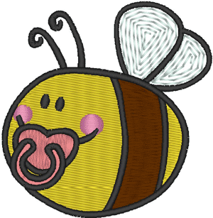 Baby Bee Embroidery Design - Cute Baby Bee PNG