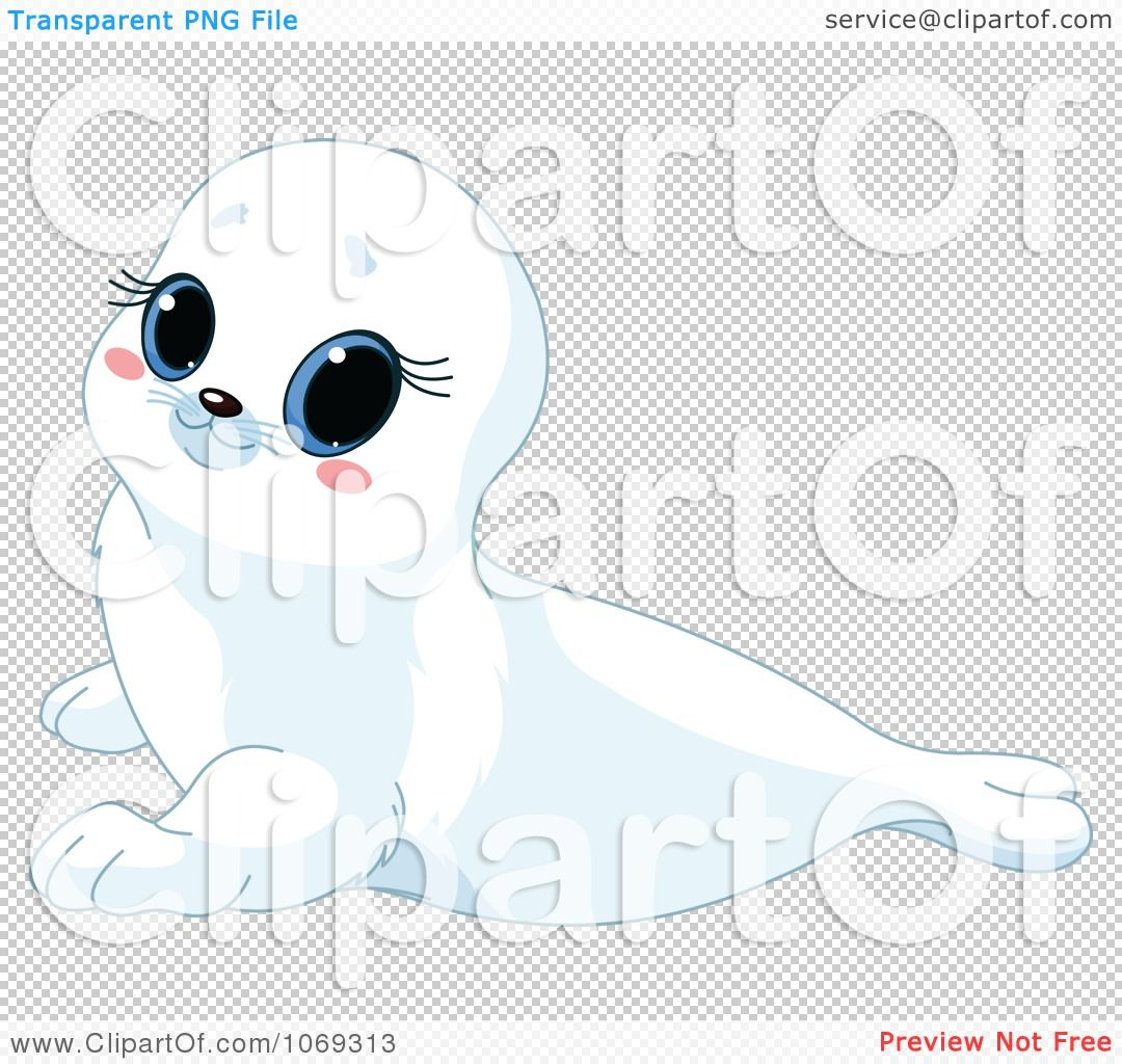 Clipart Cute White Baby Seal - Royalty Free Vector Illustration by Pushkin - Cute Baby Seal PNG