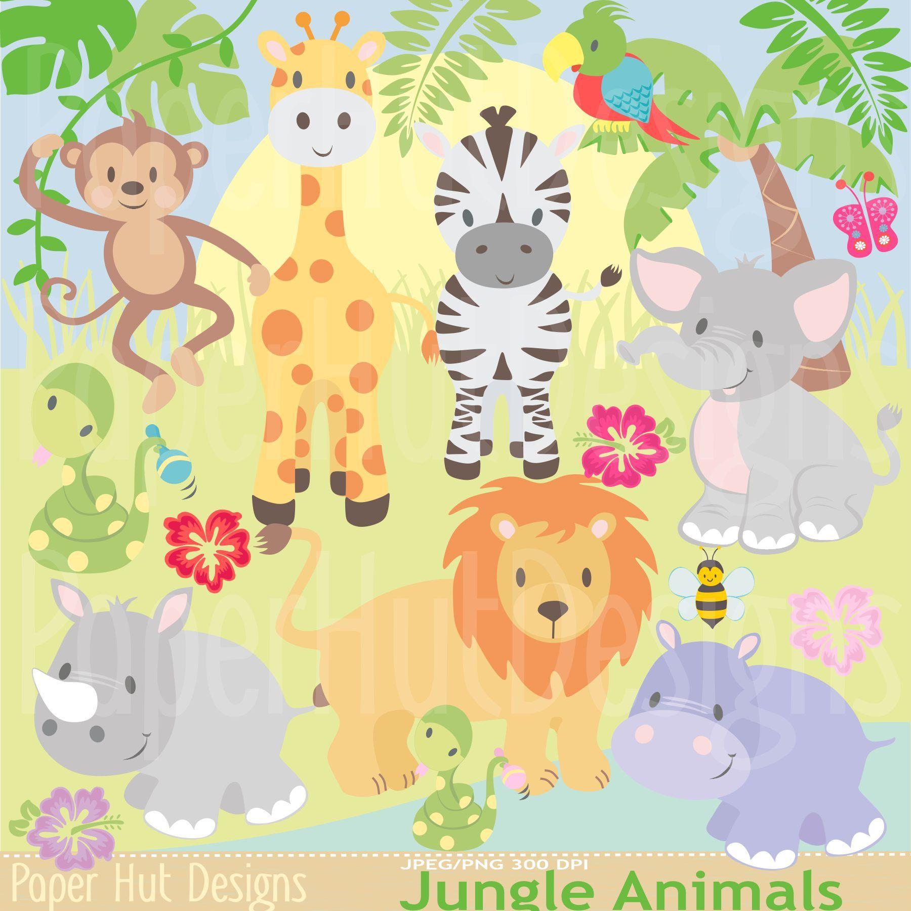 Jungle Animal Clipart Safari Clip Art Zoo Baby