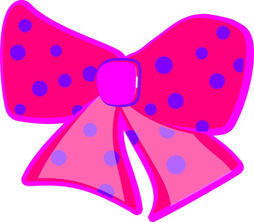 Ribbon Pink Bows Dotted Cute Bow Tie Beaut - Cute Bow PNG HD