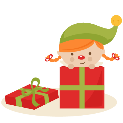 girl elf in present svg cutting files christmas svg cuts free svgs clipart - Cute Elves PNG