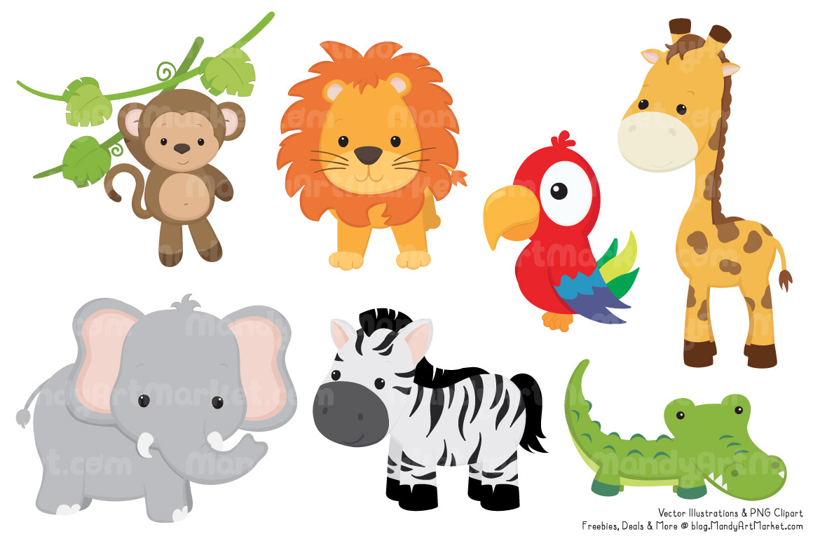 Cute Jungle Animals PNG HD - 121599