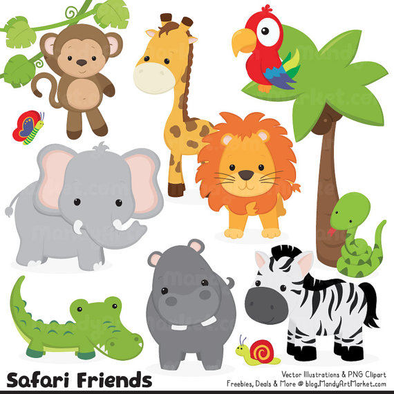 Cute Jungle Animal Clipart - Cute Safari Clipart, Jungle Animal Vectors, Safari  Animal Vectors, Monkey Clipart, Elephant Clipart - Cute Jungle Animals PNG HD