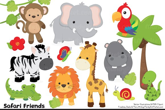 Cute Jungle Animals PNG HD - 121600