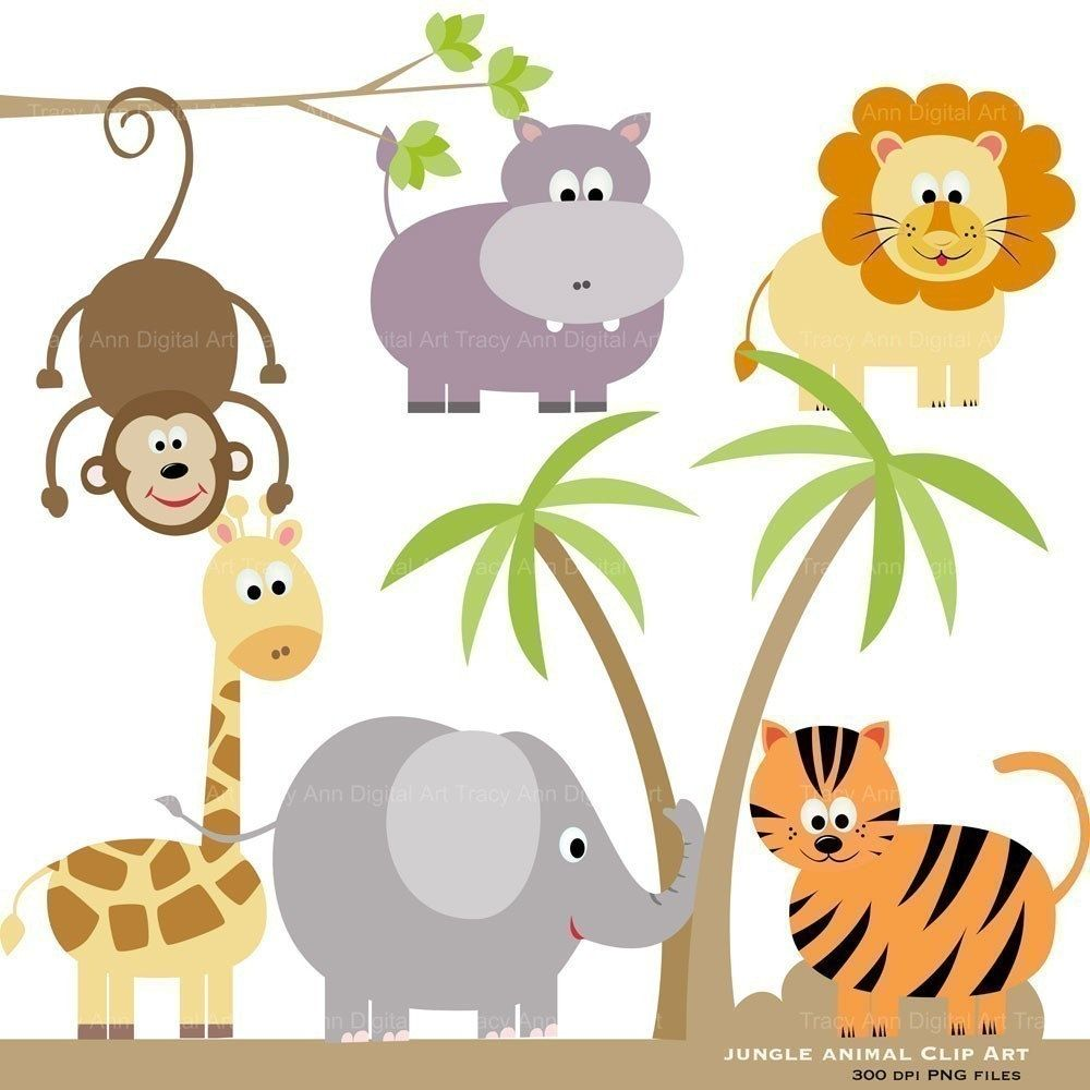 Cute Jungle Animals PNG HD - 121601
