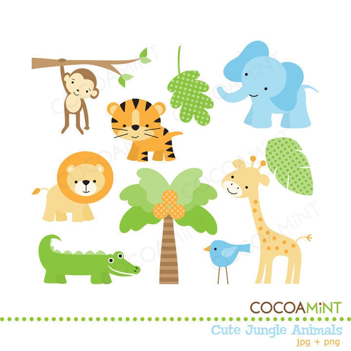 Cute Jungle Animals PNG HD - 121598