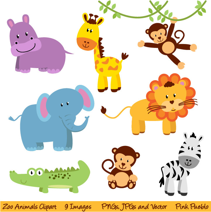 Jungle Baby Shower Clipart - Cute Jungle Animals PNG HD