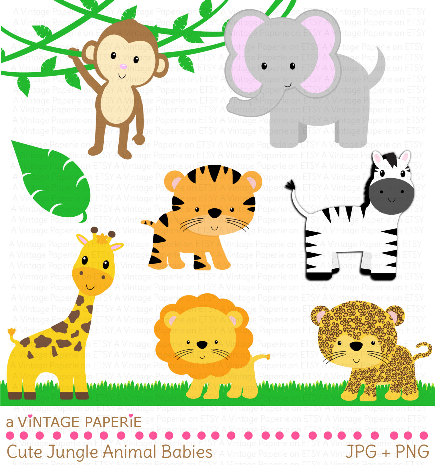 Cute Jungle Animals PNG HD - 121606