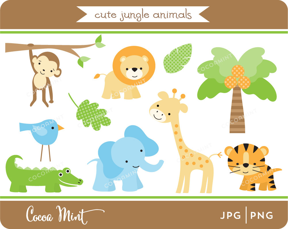 Cute Jungle Animals PNG HD - 121604