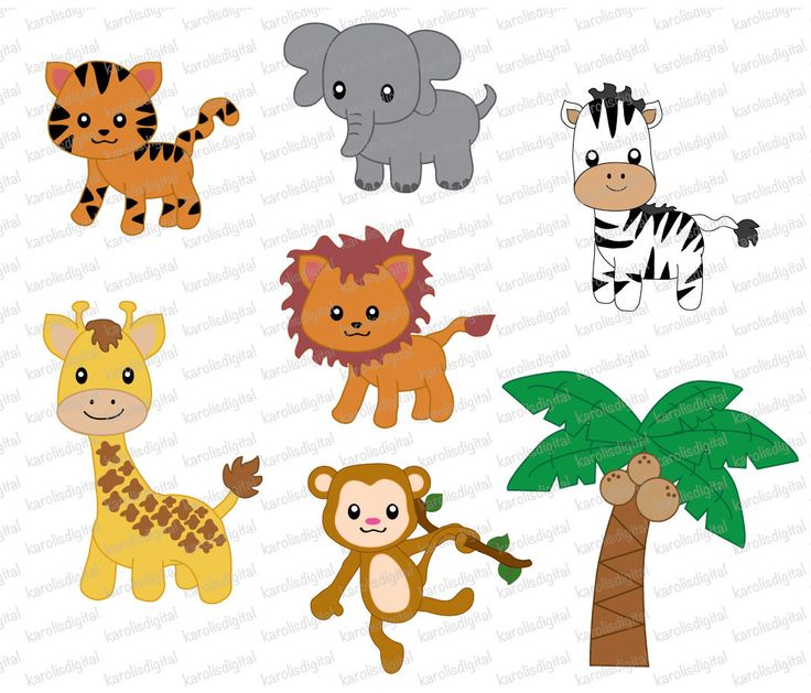png files of cute jungle animals with transparent background. You will  receive: 1 of each image as shown in picture as PNG - Cute Jungle Animals PNG HD