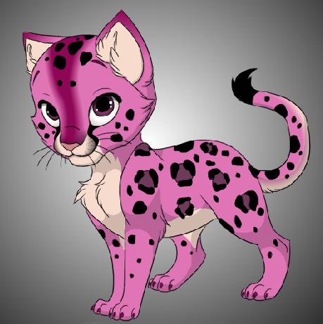 Cute Pink Leopard Kitty by DrTripwire PlusPng.com  - Cute Leopard PNG