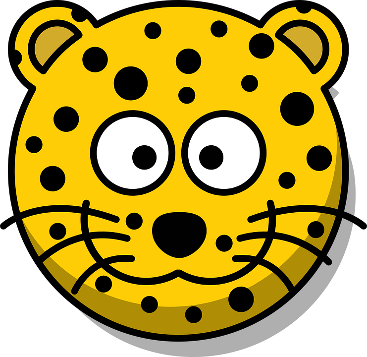 leopard head grin cute cartoon yellow whiskers - Cute Leopard PNG