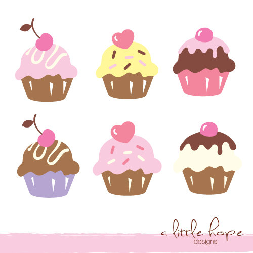 Six Cute Cupcakes Digital Clip Art - PNG and JPG files instant download V.1 - Cute Muffin PNG