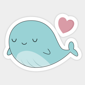 Kawaii Cute Blue Whale Sticker