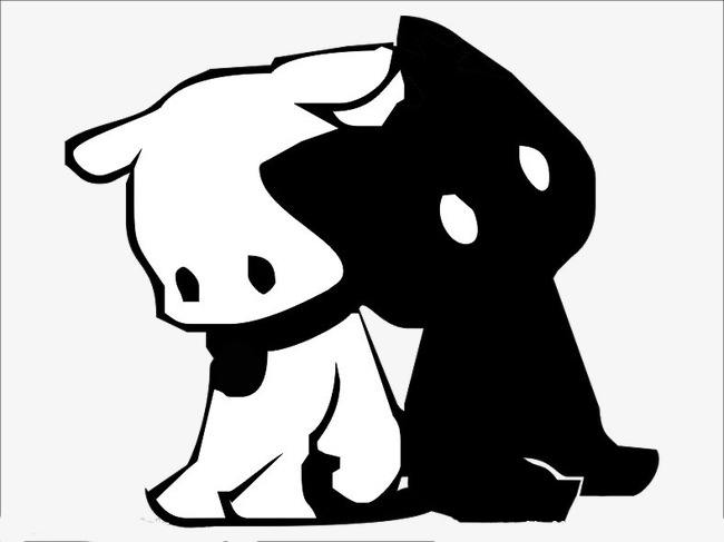 creative cartoon dog puppies,black and white dog, Cute Puppy Pictures,  Creative Cartoon - Cute Puppies PNG Black And White