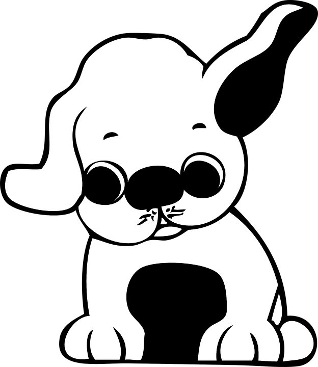 puppy cartoon cute ears isolated comic doggy paw - Cute Puppies PNG Black And White