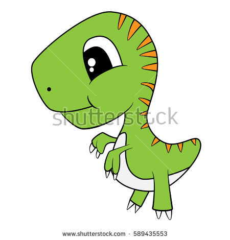 Illustration of Cute Cartoon of Green Baby T-Rex Dinosaur. Vector EPS 8. - Cute T Rex PNG