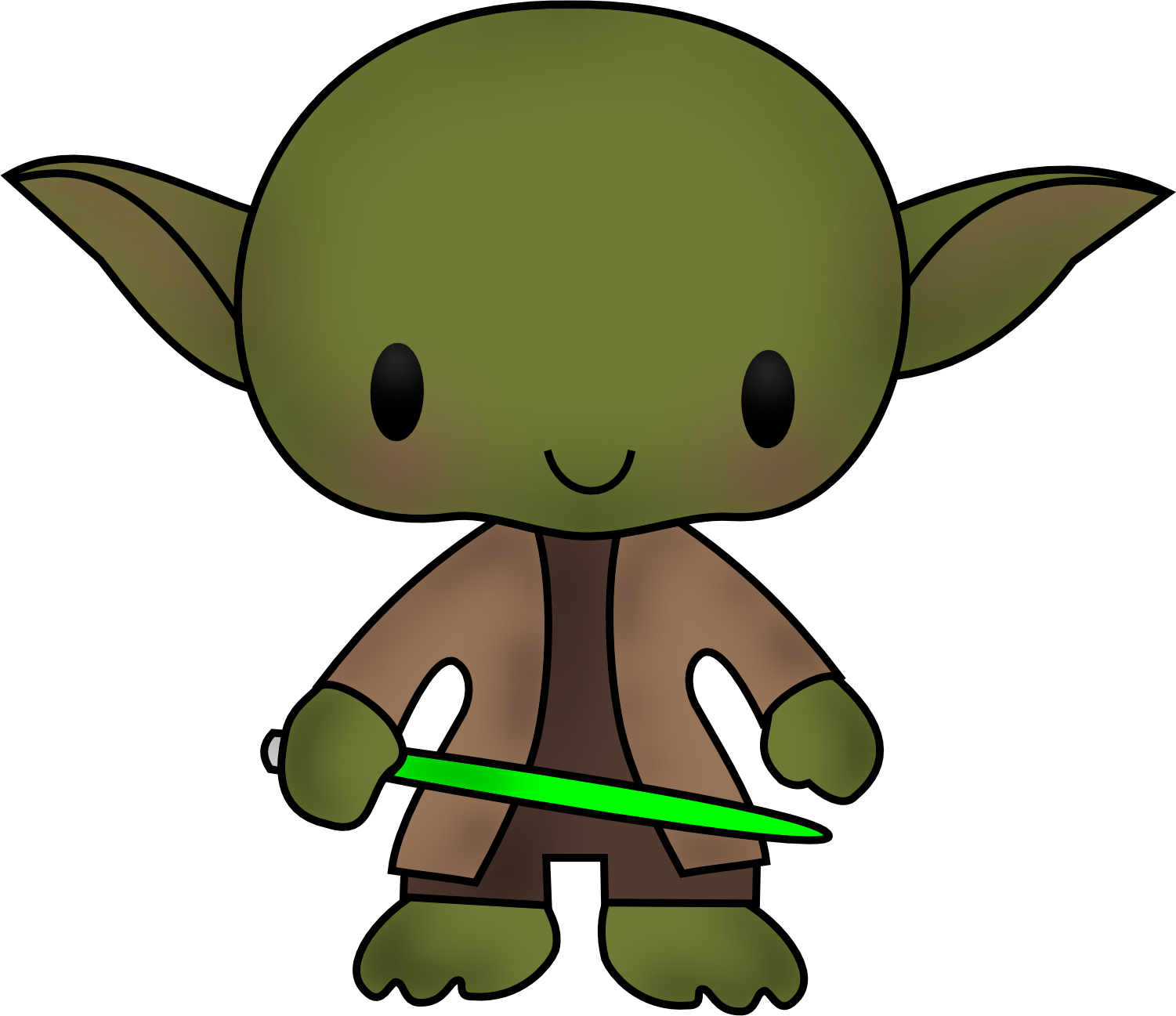 Star Wars Clipart / PNG / Yoda Darth Vader Han Solo by ClipArtisan - Cute Yoda PNG