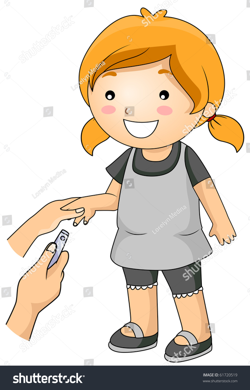 A Young Girl Getting Her Nails Cut - Vector - Cutting Nails PNG