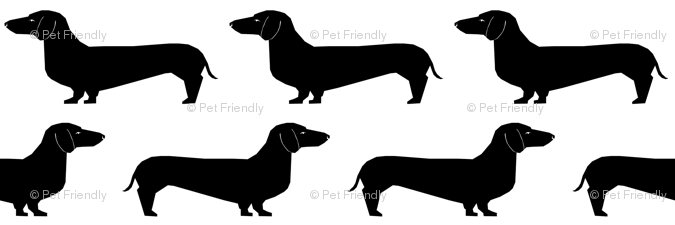 doxie dachshund wiener dog sausage dog black and white dog silhouette cute  dog dogs pet wallpaper - petfriendly - Spoonflower - Dachshund PNG Black And White