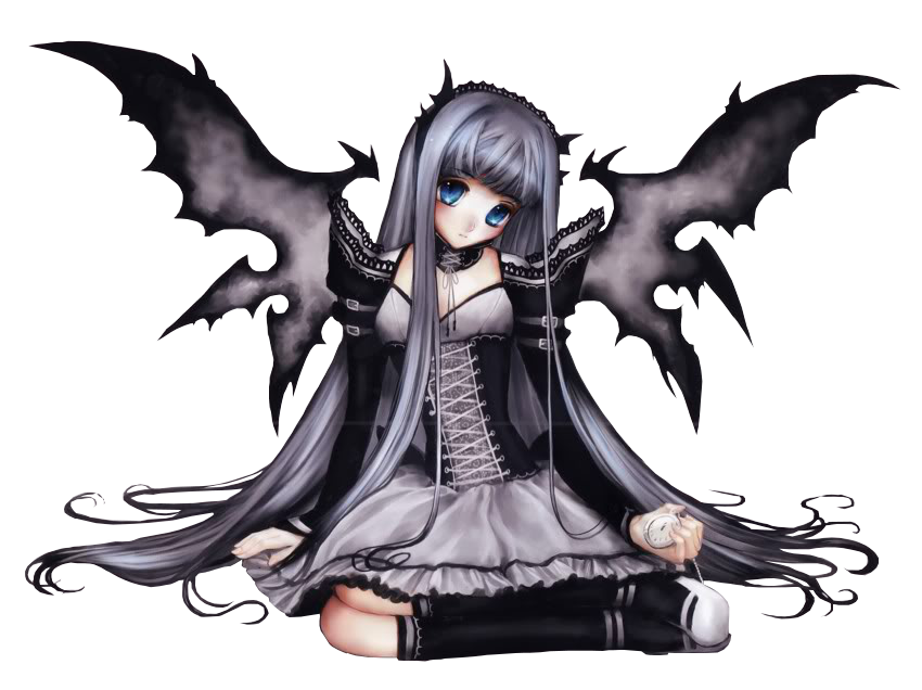 Dark anime angel girl Render photo 1321.png - Dark Angel PNG