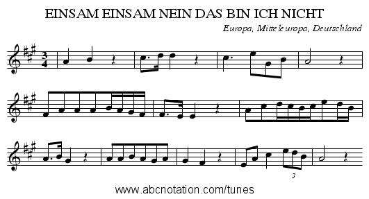 EINSAM EINSAM NEIN DAS BIN ICH NICHT - staff notation - Das Bin Ich PNG