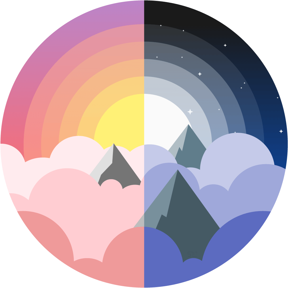vector illustration of the tops of mountains poking through clouds, left  half is daytime with - Day And Night PNG